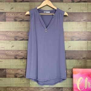 FIG lavender v neck tank with buttons scoop hem
